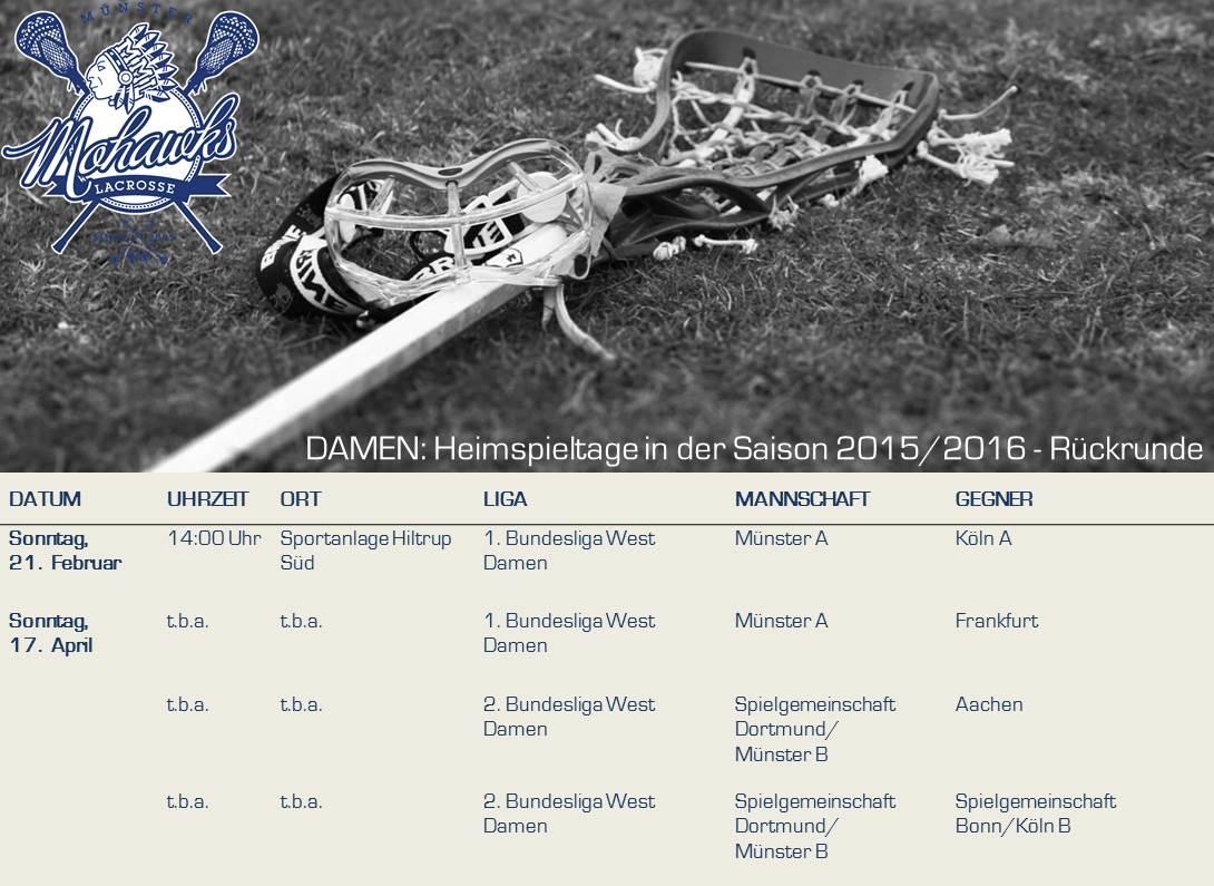 2015_2016-2 (Rückrunde) Damen_Ankündigung Heimspieltage Münster Mohawks